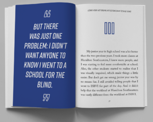 """Book inside showing blue page with large print text, for """"LOSING VISION, NOT DREAMS"""" by Noah Malone"""